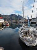 Opinião o fuzileiro naval em Noruega Navigação do iate no mar azul Fjord norueguês Foto de Stock