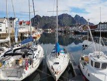 Opinião o fuzileiro naval em Noruega Navigação do iate no mar azul Fjord norueguês Imagem de Stock Royalty Free