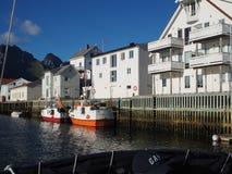 Opinião o fuzileiro naval em Noruega Navigação do iate no mar azul Fjord norueguês Imagens de Stock