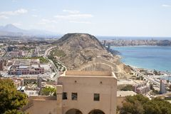 Opinião o Playa del Postiguet imagens de stock royalty free