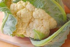 Opinião orgânica fresca do close up da cabeça da couve-flor Foto de Stock Royalty Free