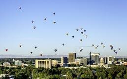 Opinião original Boise Idaho com os balões de ar quente foto de stock royalty free