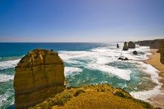 Opinião os 12 apóstolos na grande estrada do oceano, Melbo Fotografia de Stock