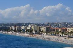 Opinião panorâmico da praia agradável da cidade, France Fotos de Stock