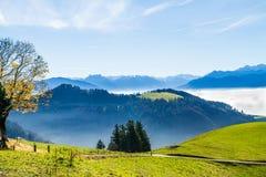 Opinião panorâmico da skyline do cloudscape de cumes suíços no céu azul Fotografia de Stock Royalty Free