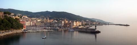Opinião panorâmico de Bastia, Córsega imagem de stock