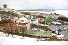 Opinião panorâmico Nizhny Novgorod de março Imagem de Stock