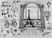 Opinião parisiense das vistas da janela à torre Eiffel ilustração stock