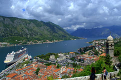 Opinião pitoresca da baía de Kotor, Montenegro Imagens de Stock