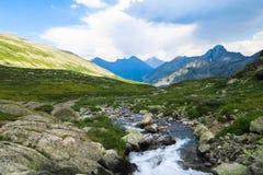 Opini?o pitoresca de fluxo do c?rrego da montanha Montanhas de Altai, R?ssia foto de stock