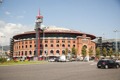 Opinião Plaza de Espana com a arena em Barcelona, Espanha Foto de Stock