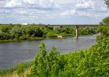 Opinião a ponte e o Don River Near a vila de Novozhivotinnoye, região de Voronezh Imagens de Stock Royalty Free