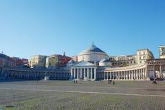 Opinião Praça del Plebiscito, Nápoles, Campania, Itália fotos de stock royalty free