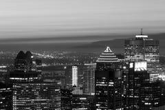 Opinião preto e branco da skyline sobre Montreal Imagens de Stock