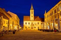 Opinião quadrada barroco da noite de Varazdin Fotografia de Stock