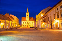 Opinião quadrada barroco da noite de Varazdin Fotografia de Stock Royalty Free