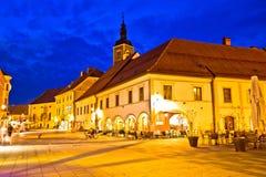 Opinião quadrada barroco da noite de Varazdin Fotos de Stock