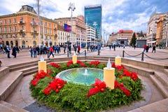 Opinião quadrada principal do advento de Zagreb fotos de stock