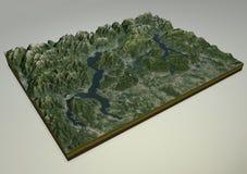 Opinião satélite do lago Maggiore, do lago Como e do Lecco, Itália Fotografia de Stock