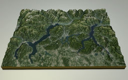 Opinião satélite do lago Maggiore, do lago Como e do Lecco, Itália Fotos de Stock Royalty Free