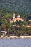 Opinião Savina Monastery Cidade de Herceg Novi, Montenegro fotografia de stock royalty free