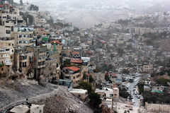 Opinião Silwan ou Kfar Shiloah, vizinhança árabe perto da cidade velha do Jerusalém foto de stock