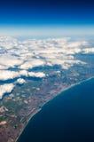 Opinião sul BRITÂNICA dos penhascos do custo da parte superior em Eastbourne, Brigghton, Engl Foto de Stock Royalty Free