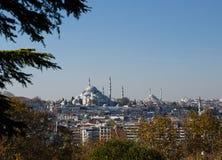 Opinião Suleymaniye Camii e Fatih Camii, Istambul, Turquia fotografia de stock