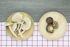 Opinião superior cogumelos de shiitake secados e cogumelos de ostra Imagem de Stock Royalty Free