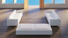 A opinião superior 3d da casa de campo da opinião do mar da sala de visitas rende a imagem imagem de stock royalty free