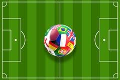 Opinião superior 3D-Illustration de campo de futebol do projeto da bola de Catar Imagem de Stock Royalty Free