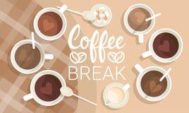 Opinião superior da bebida da bebida do café da manhã da ruptura do copo de café ilustração royalty free