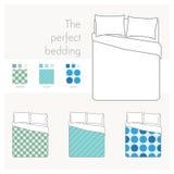 Opinião superior da cama com testes padrões da amostra ilustração stock