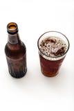 Opinião superior da cerveja e de vidro de cerveja Imagem de Stock