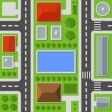 Opinião superior da cidade Teste padrão sem emenda do mapa da cidade Vetor ilustração royalty free
