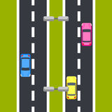 Opinião superior da ilustração em dois sentidos do vetor da estrada Foto de Stock Royalty Free