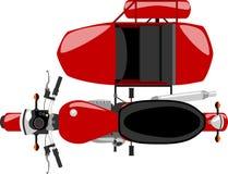 Opinião superior da motocicleta do carro lateral ilustração royalty free