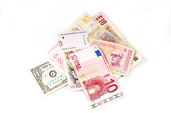 Opinião superior das várias moedas Imagens de Stock Royalty Free