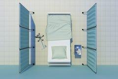 Opinião superior de cama de hospital ilustração royalty free