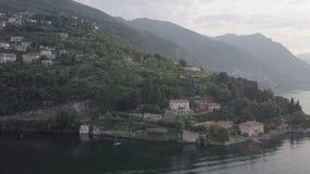 Opinião superior de Como Itália do lago video estoque