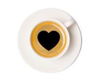 Opinião superior de copo de café isolada no fundo branco com grampeamento imagem de stock royalty free