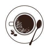 Opinião superior de copo e de pires do café Imagem de Stock