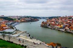Opinião superior de Porto no rio de Douro imagem de stock royalty free