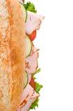 Opinião superior de sanduíche de turquia isolada no branco Fotografia de Stock Royalty Free