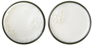 Opinião superior de vidro de leite isolada Foto de Stock Royalty Free