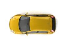 Opinião superior do carro amarelo do Hatchback Imagem de Stock
