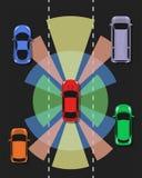 Opinião superior do carro autônomo Auto que conduz o veículo Imagem de Stock