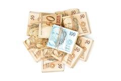 Opinião superior do dinheiro brasileiro Fotos de Stock