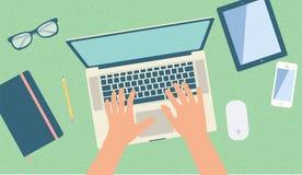 Opinião superior do espaço de trabalho Imagem de Stock Royalty Free