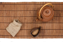 Opinião superior do tempo oriental do chá Imagens de Stock